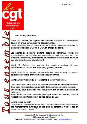 Déclaration des élus CGT au CTP