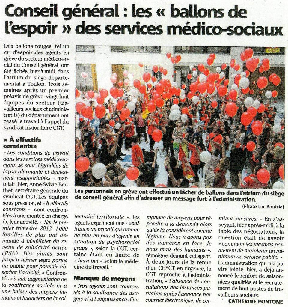 Info Presse VAR Matin agents du conseil général du var en grève cliquez ici