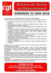 Preavis de greve cgt du 22 juin 2018
